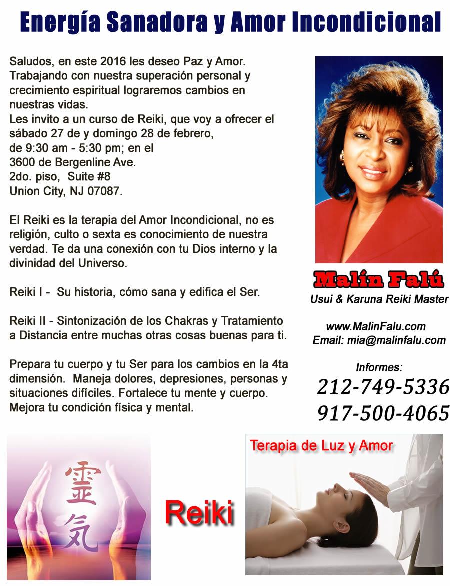 Reiki Seminario en New Jersey con Malín Falú